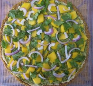 basil pesto pizza wih mango and cilantro