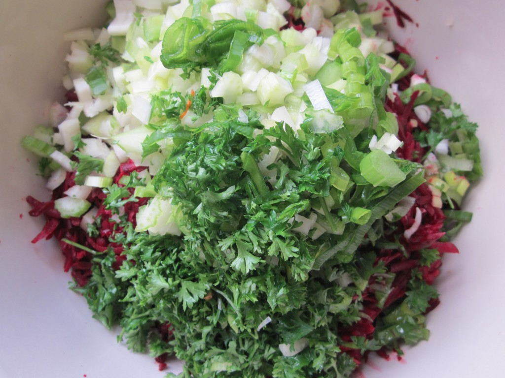 Beet Salad adding chopped vegetables