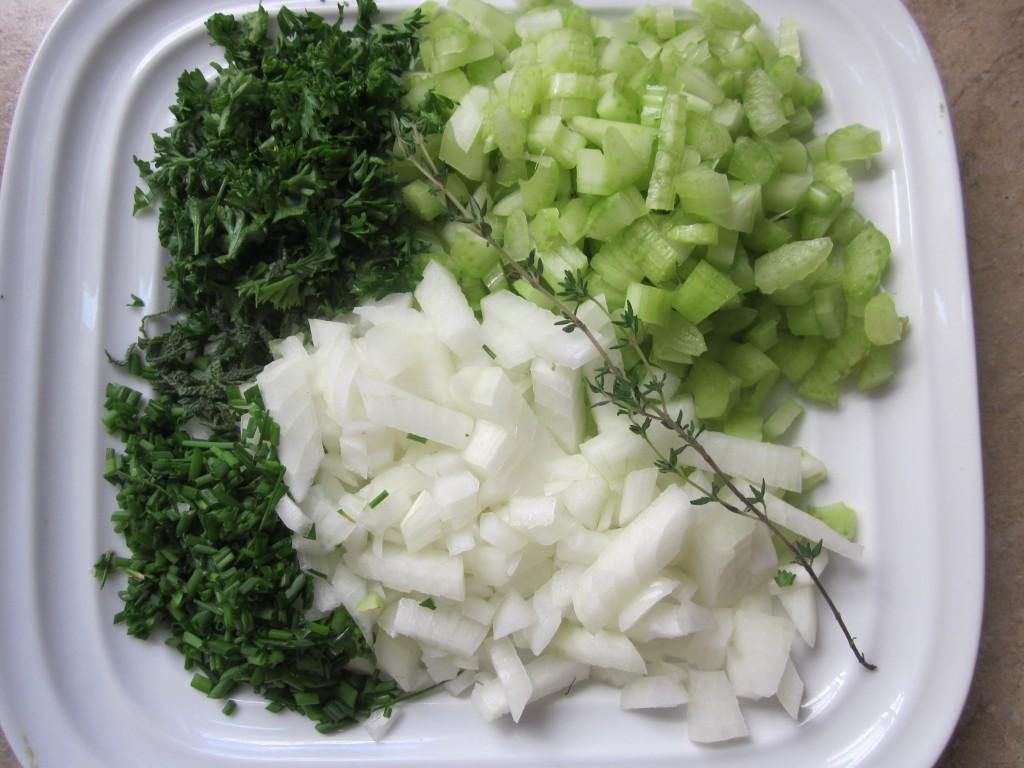 Corn Chowder chopped vegetables