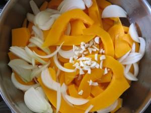 Creamy Butternut Squash Soup - veg in pot