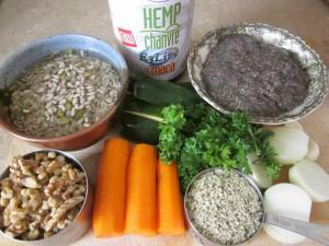 ingredients for Hemp Protein Burgers