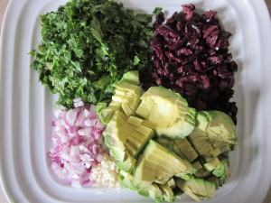 Marinated Kale Salad ingredients chopped