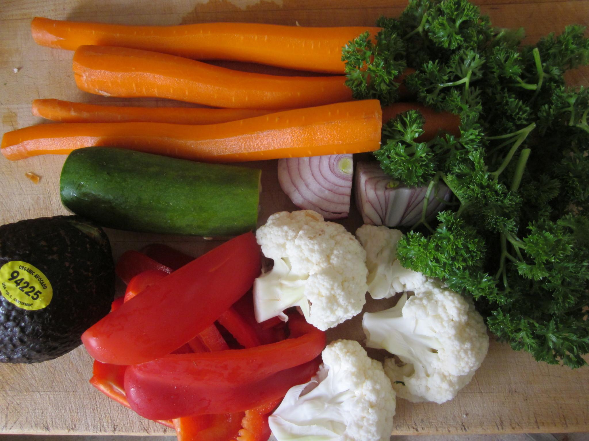 veg for filling for vegetable nori rolls