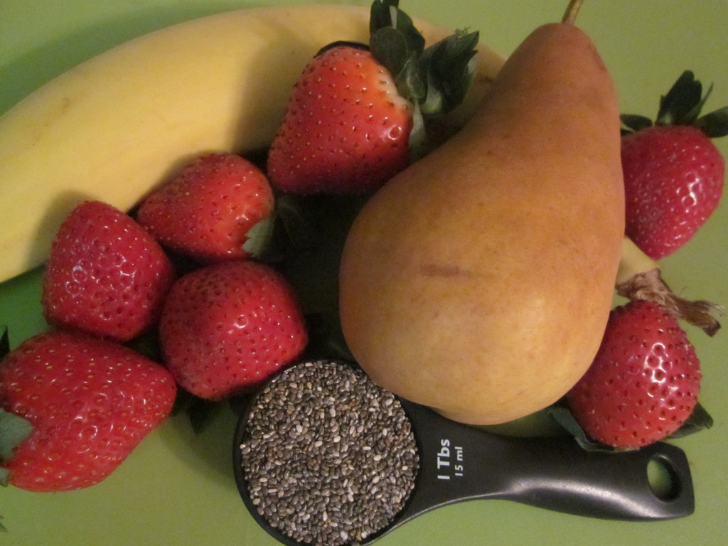 Chia Fruit Bowl with pear banana and strawberry ingredients