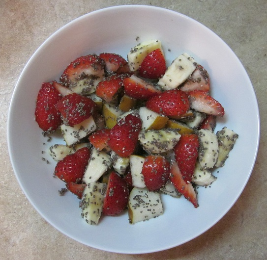 Chia Fruit Bowl with pear banana and strawberry