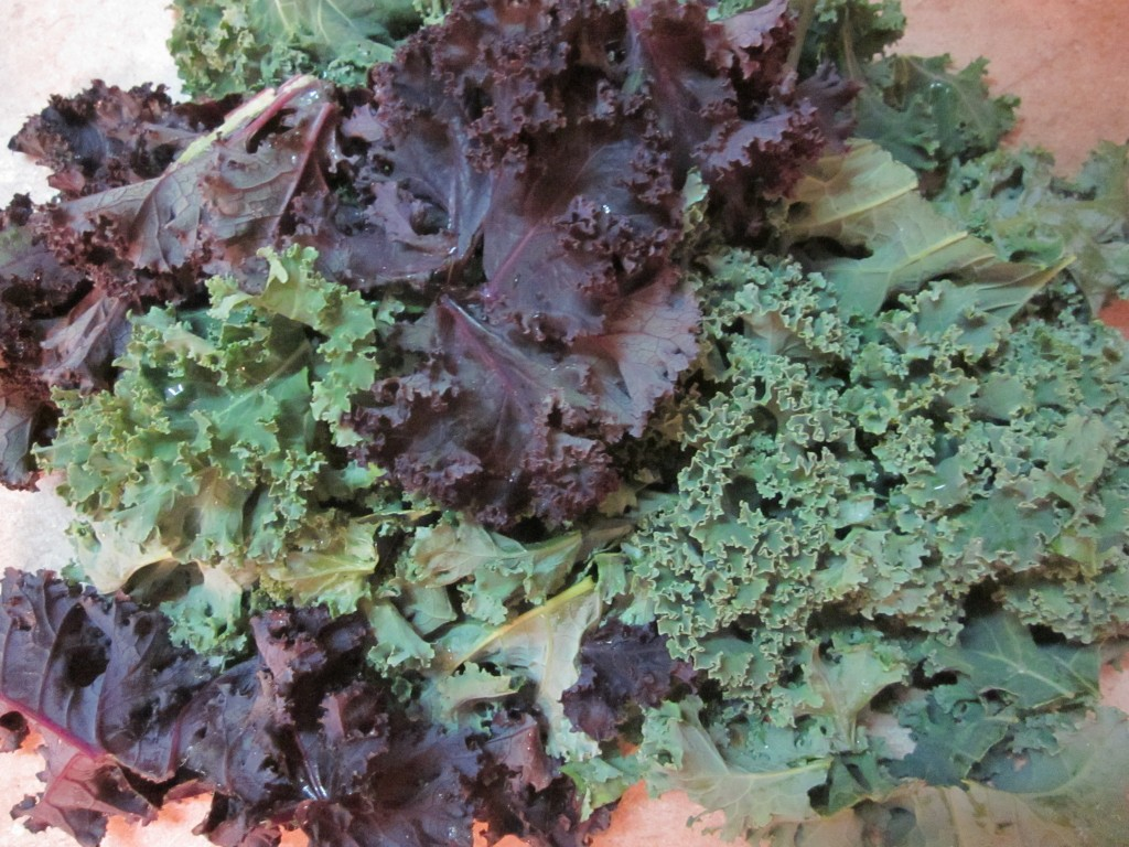 Chili Cheese Kale Chips -kale prepped