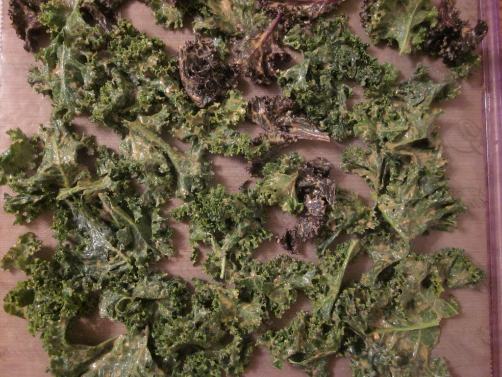 Chili Cheese Kale Chips on tray