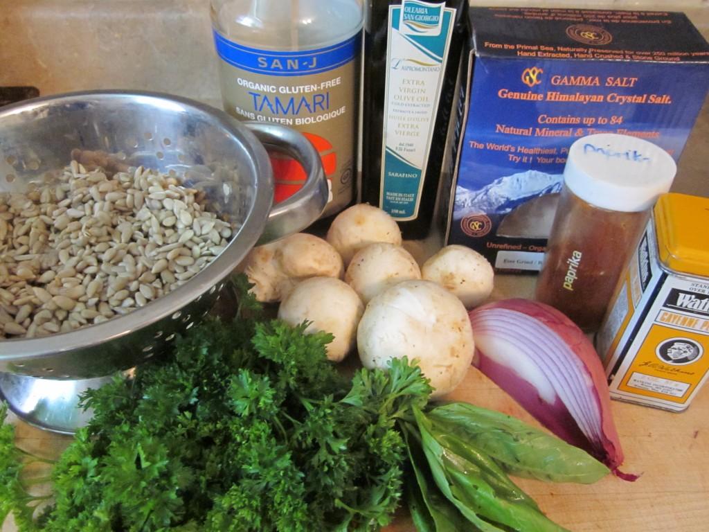 Mushroom Sunflower Seed Pate ingredients