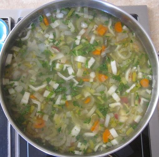 Creamy Leek Soup Recipe - soup in pot