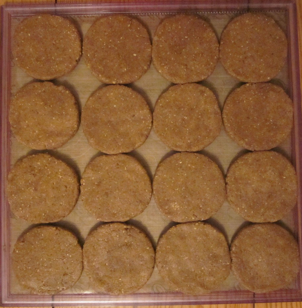 Golden Protein Cookies formed on tray
