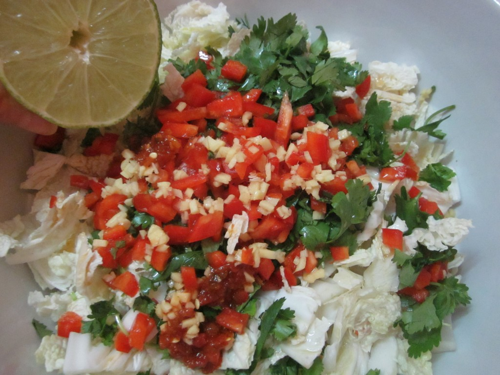 Nappa Cabbage Salad ingredients in bowl