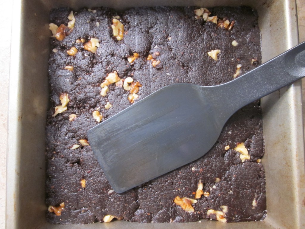 Raw Brownies in pan