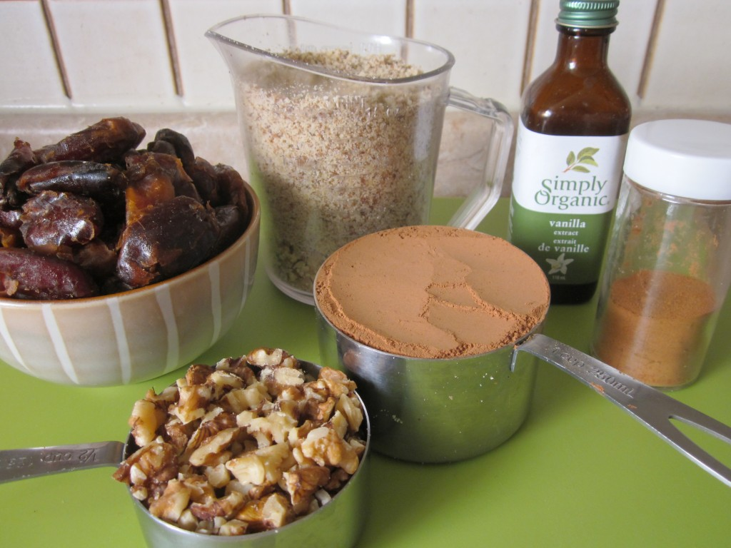 Raw Brownie ingredients