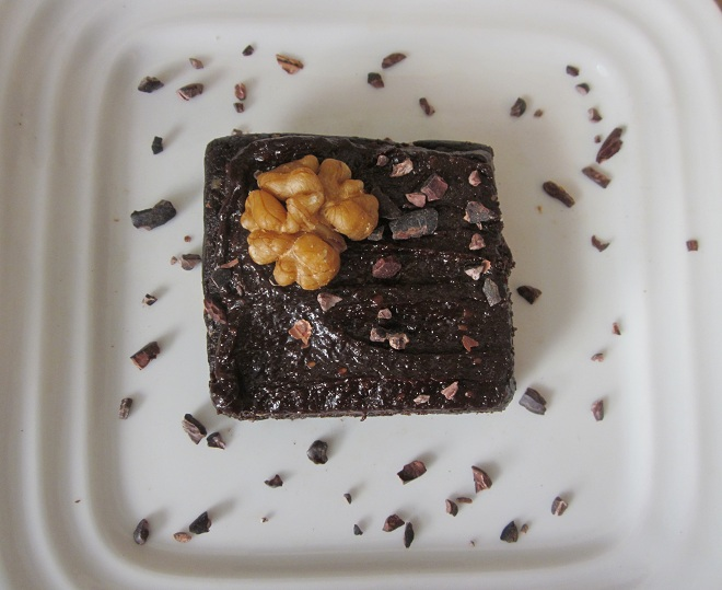 Raw Brownie with Creamy Chocolate Icing slice