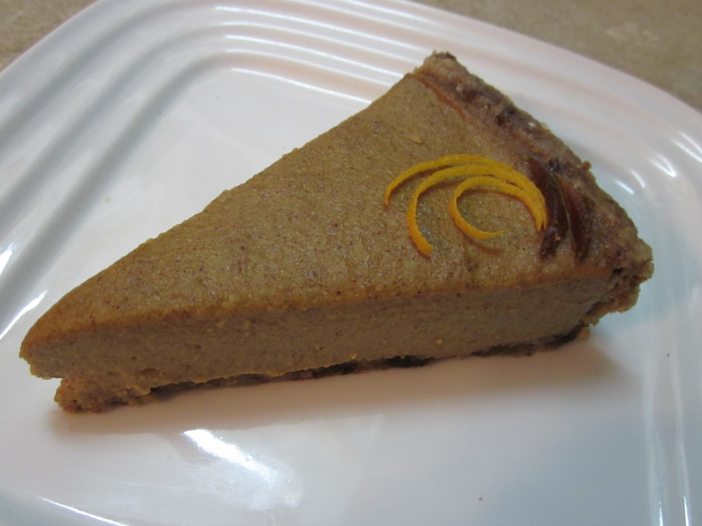 Slice of The Best Raw Pumpkin Pie