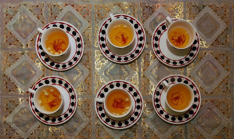 Saffron tea in cups