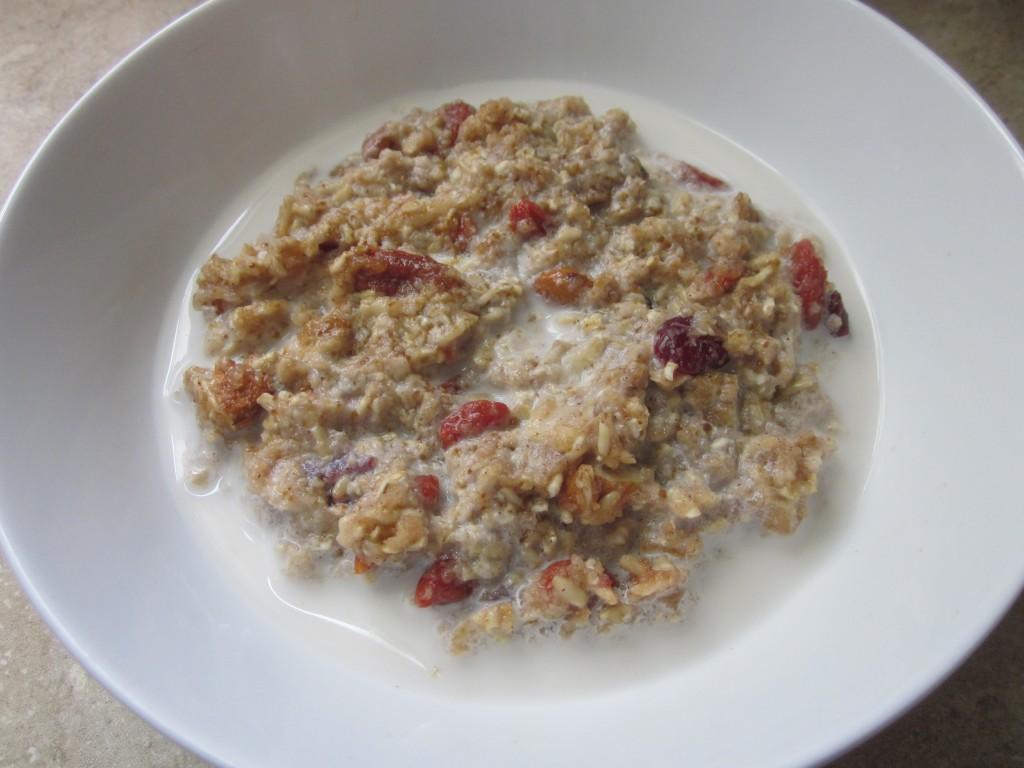 Apple Cinnamon Oatmeal - Healthy Breakfast Recipe in bowl with almond milk