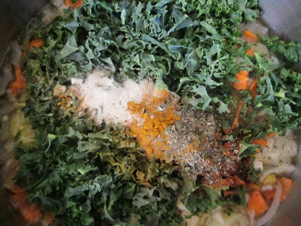 Celriac Leek and Kale Soup Recipe add seasonings and kale