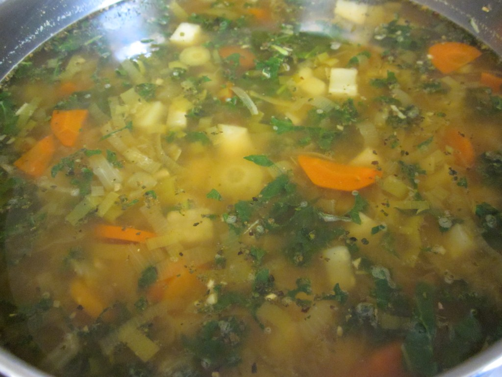 Celriac Leek and Kale Soup Recipe in pot