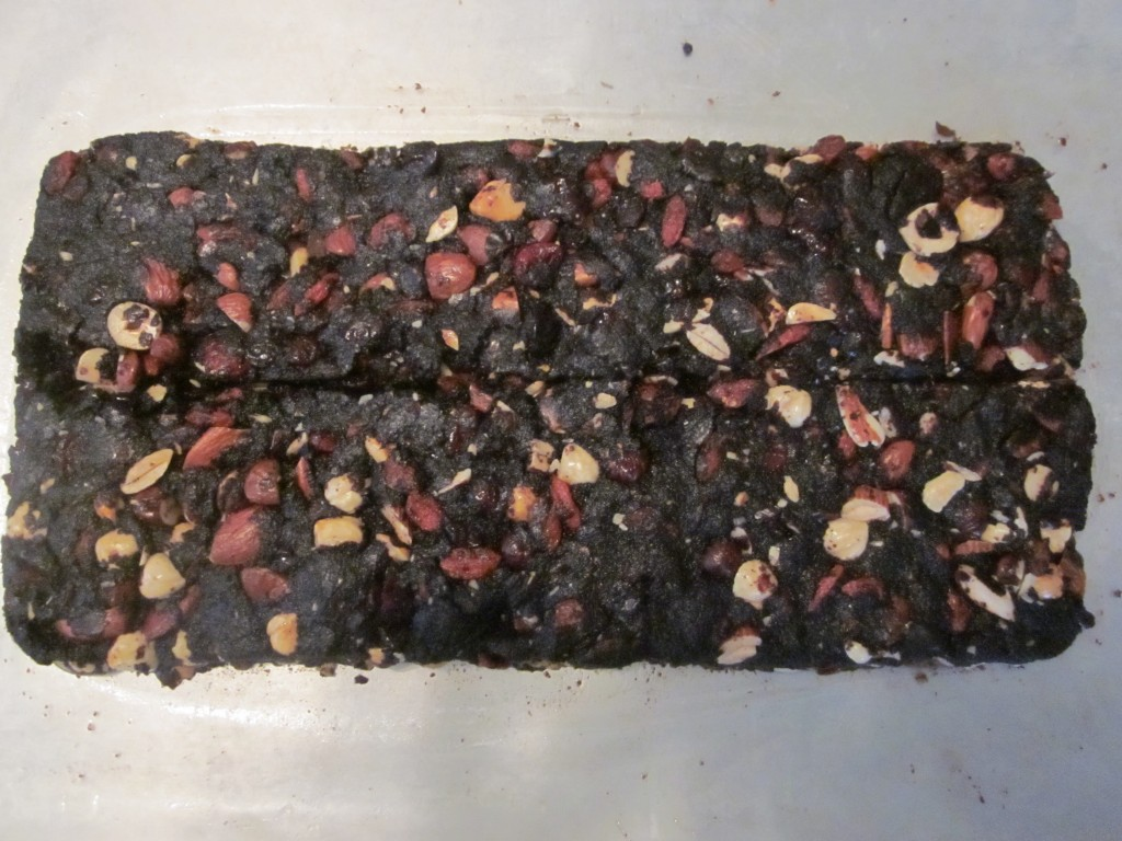 Raw Chocolate BarkRecipe 2  mixed and pressed into large bar