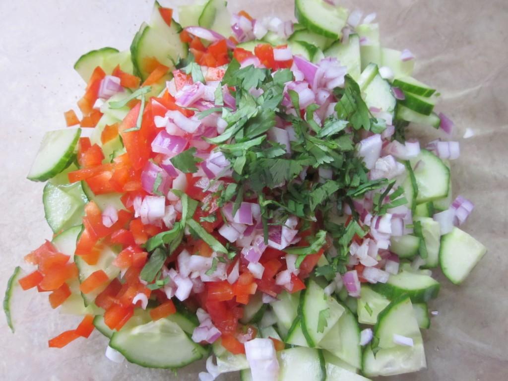 Cucumber Salad Recipe ingredients in bowl