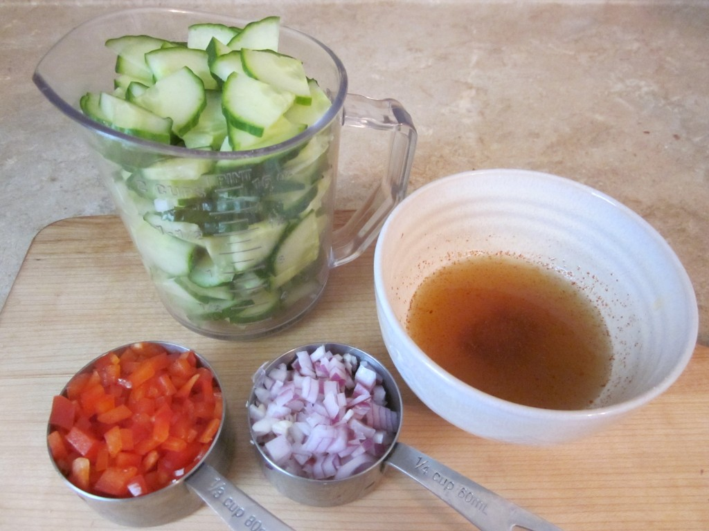 Cucumber Salad Recipe ingredients prepped