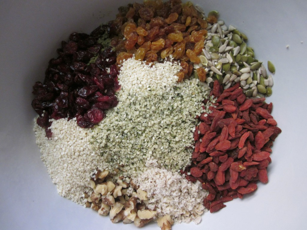 Hemp Protein Fruit Nut and Seed Bar Recipe  fruit nuts and seeds in bowl