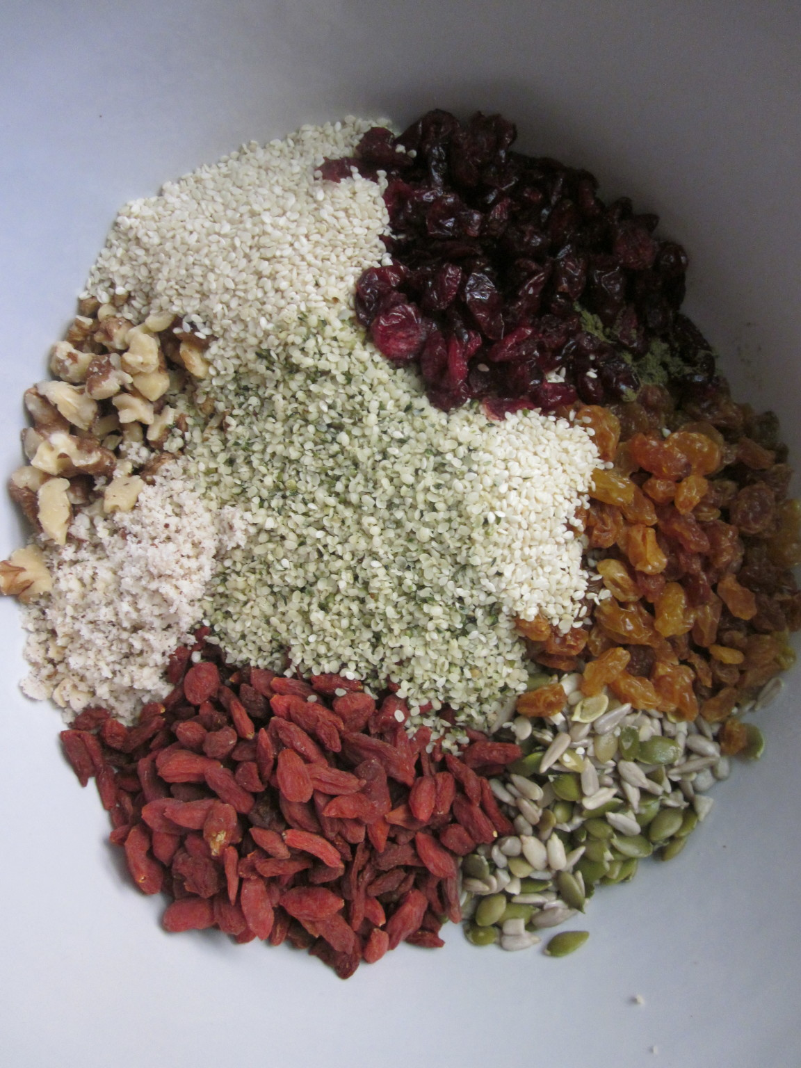 ... Protein Fruit Nut and Seed Bar Recipe fruit nuts and seeds in bowl