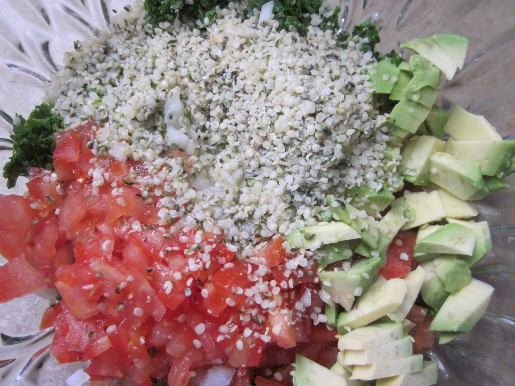 Tabouli Recipe ingredients with veg hemp and dressing