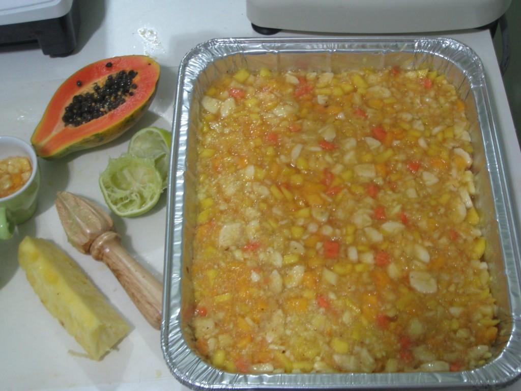 Tropical Fruit Cobbler Recipe base layer