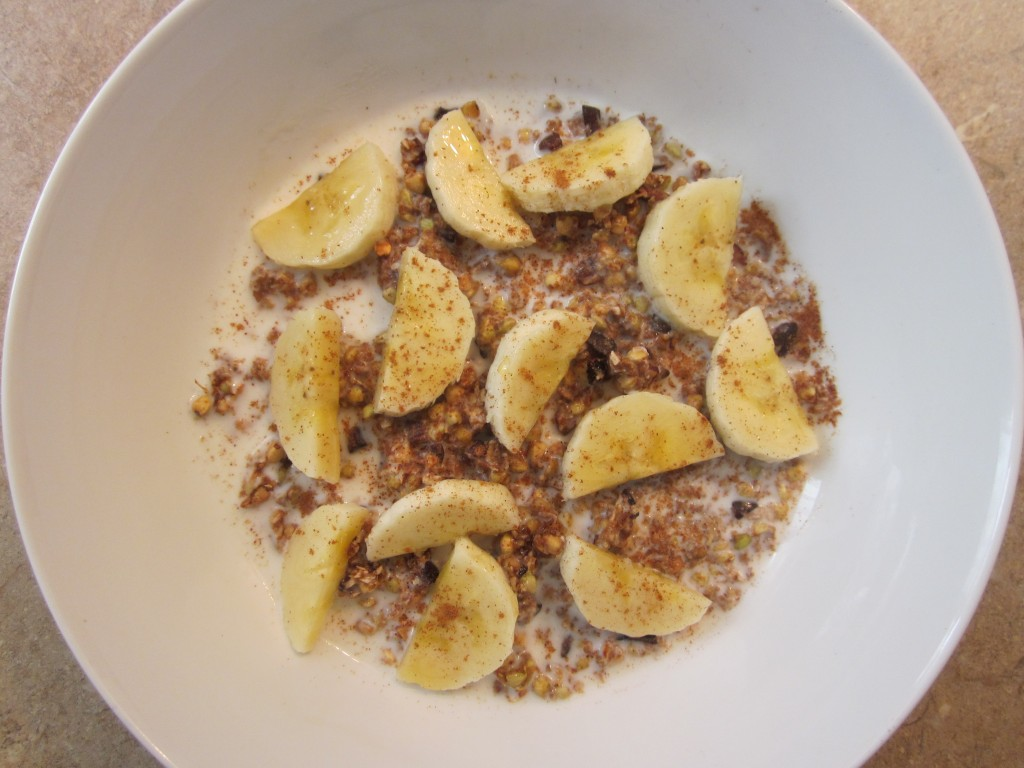 Buckwheaties Raw Cereal - Healthy Breakfast Recipe with almond milk and banana in bowl