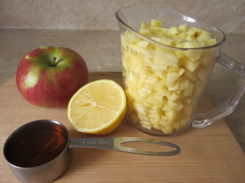 Pineapple Apple Upside Down Cake Recipe - fruit layer ingredients