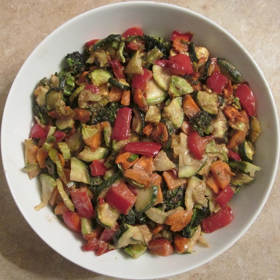Vegetables in Ginger Tamarind Sauce Recipe -  vegetables dehydrated in a bowl