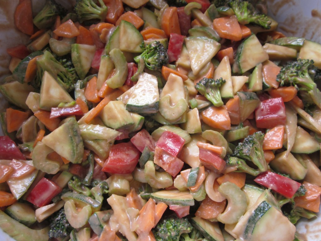 Vegetables in Ginger Tamarind Sauce Recipe -  vegetables mixed with sauce in bowl