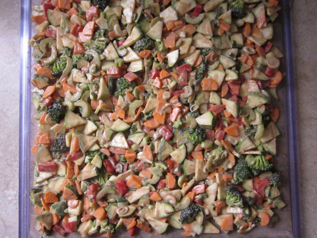 Vegetables in Ginger Tamarind Sauce Recipe -  vegetables on dehydrator tray