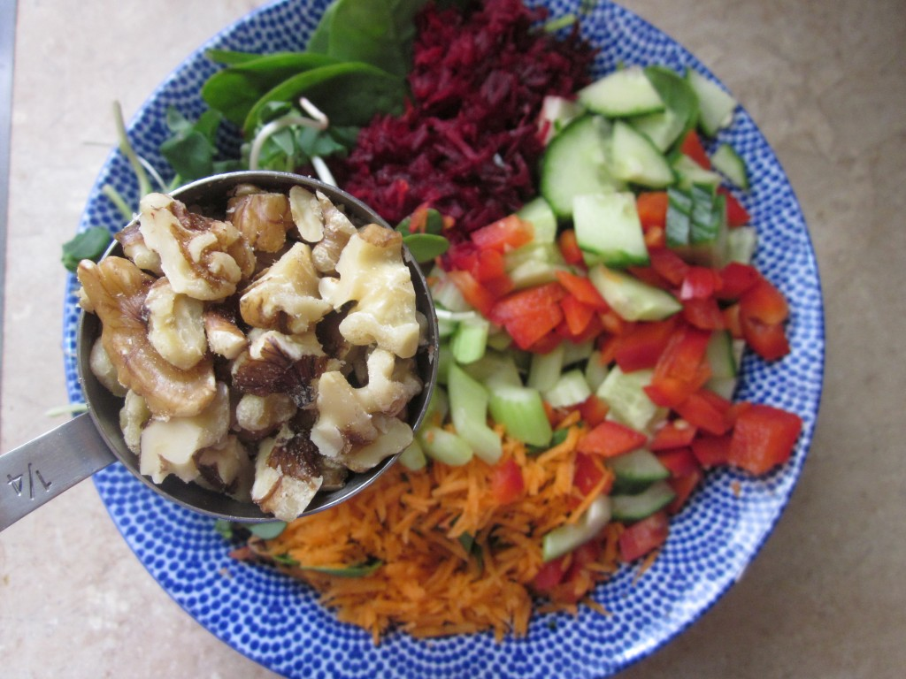 Goddess Layered Salad Recipe - vegetable layer - add walnuts