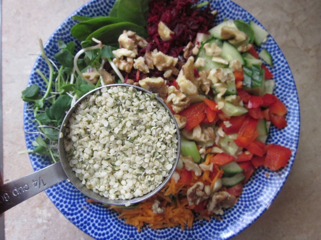 Goddess Layered Salad Recipe - vegetables add hemp seeds