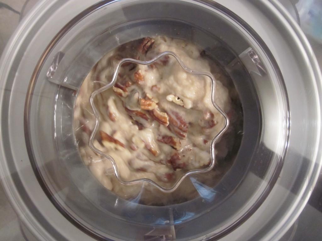 Maple Pecan Raw Vegan Ice Cream Recipe pecans blended in ice cream maker