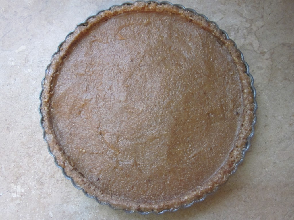 Raw Pecan Pie Recipe - filling smoothed out in crust