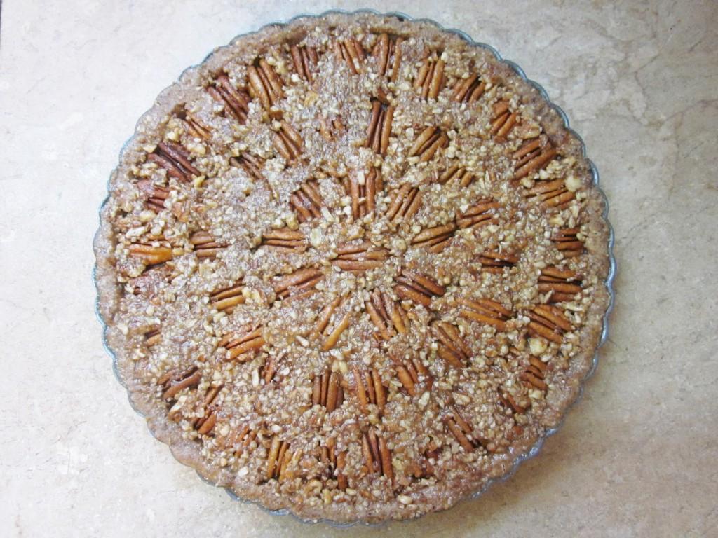 Raw Pecan Pie Recipe in pan