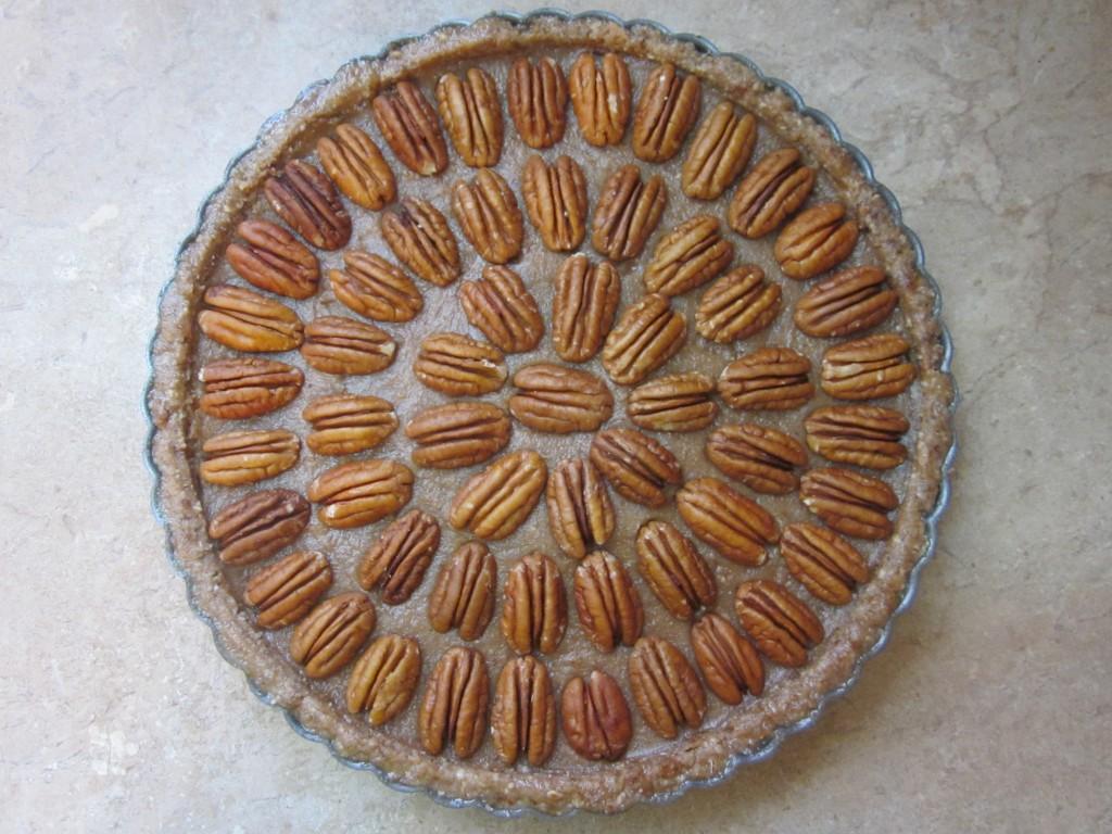 Raw Pecan Pie Recipe - pecans on top