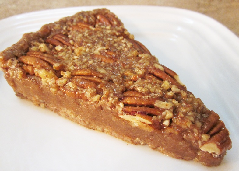 Raw Pecan Pie Recipe slice on a plate