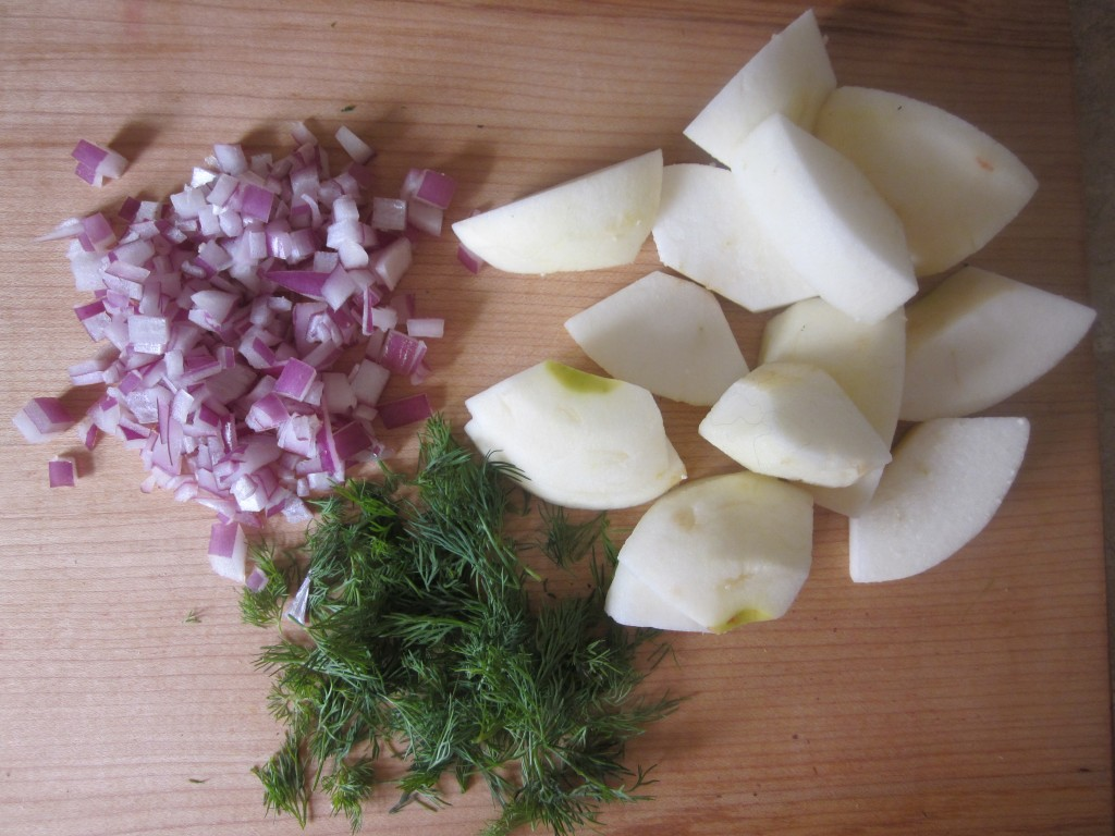 Cauliflower Steaks with Apple and Dill Recipe - chop apple onion and dill