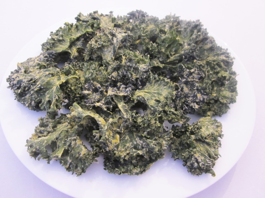 Dill Pickle Kale Chips Recipe on a pla