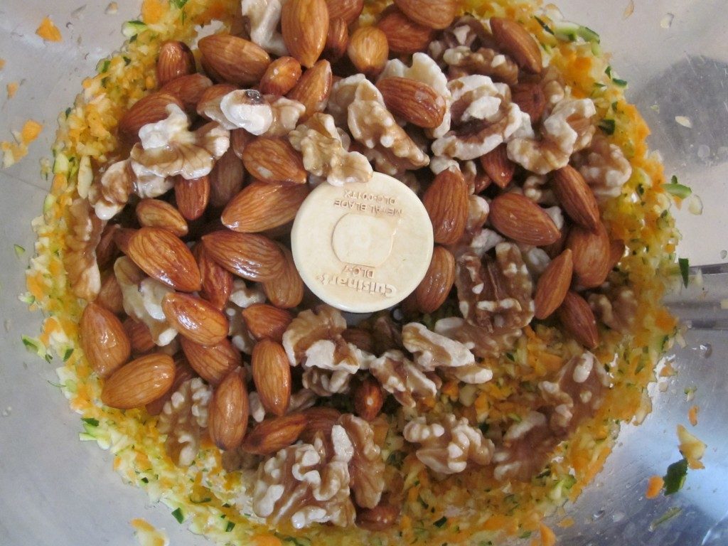 Green Chia Nut Crackers Recipe - veg and nuts in processor.