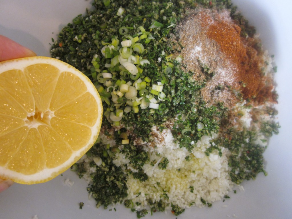 Herbed Cauliflower Couscous Recipe rest of ingredients in bowl with lemon