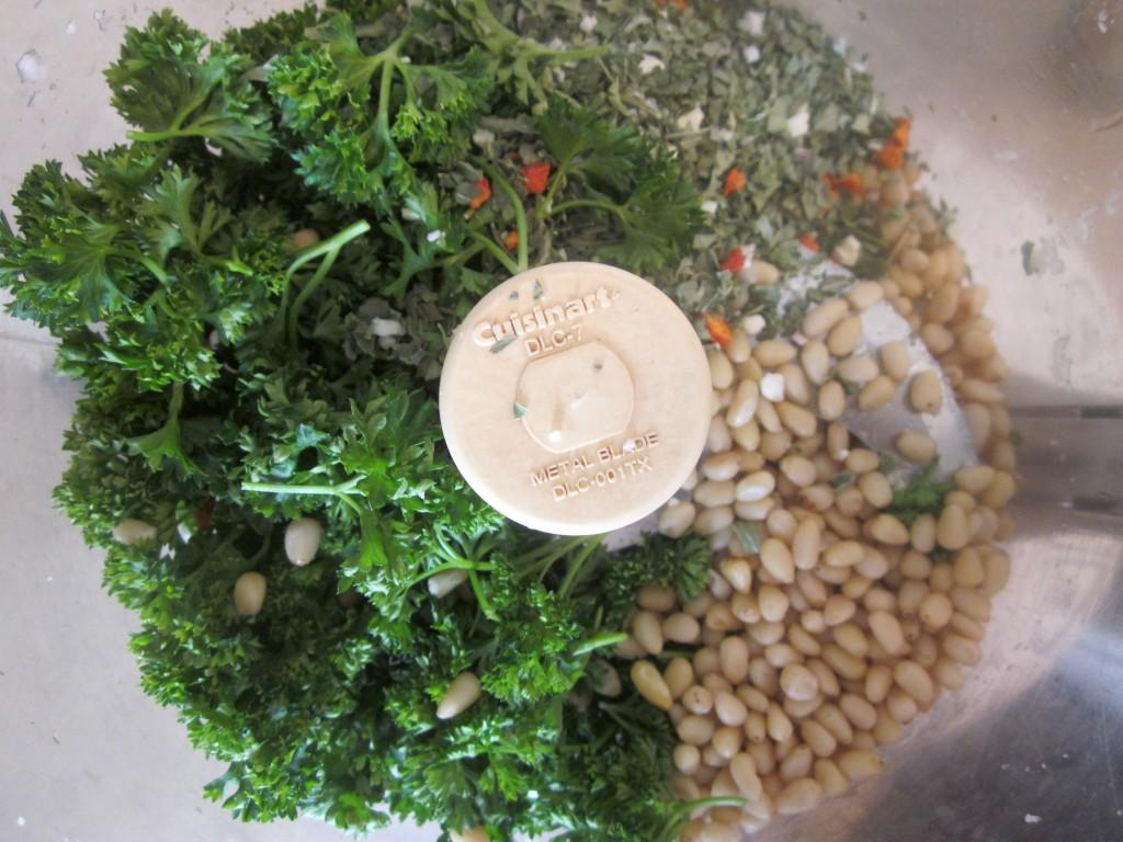 Herbed Cauliflower Couscous Recipe rest of ingredients in processor