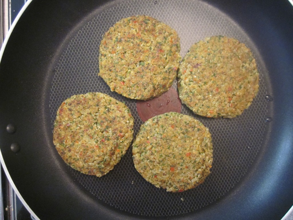 Quinoa Cakes Recipe cakes flipped in pan