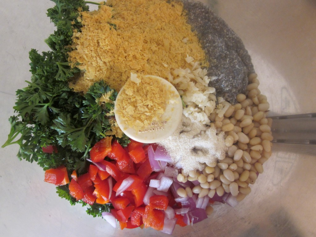 Quinoa Cakes Recipe ingredients in processor