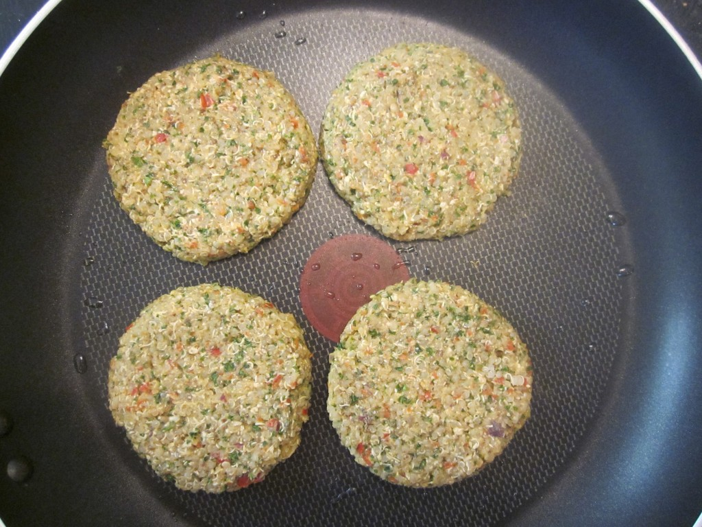Quinoa Cakes Recipe quarter cup patties in frying pan